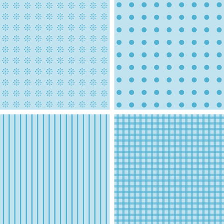 giftwrap: Vector set of 4 background patterns in pale blue.