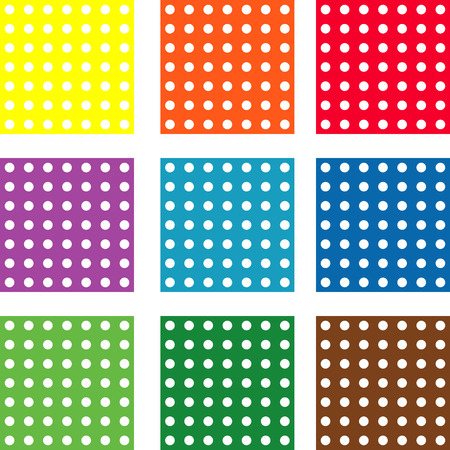 Set of nine vector  patterns with polka dot photo