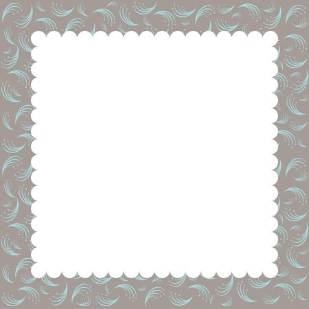 grunge border: Vector greeting card template. Vintage floral frame. Illustration