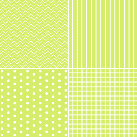 pale green: Vector set of 4 background patterns in pale green. Illustration