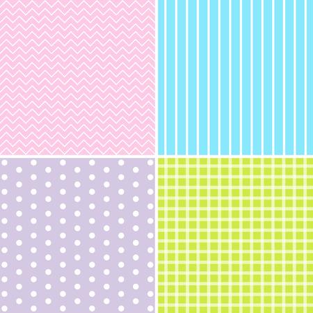 giftwrap: Vector set of 4 background patterns in pastel colors. Illustration