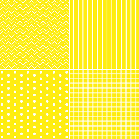 giftwrap: Vector set of 4 background patterns in pale yellow. Illustration