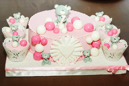 cake pick: Beautiful birthday cake for baby girl. Selective focus Stock Photo