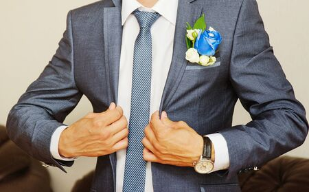 man in tuxedo: man dressed in  suit and white shirt. groom or businessman Stock Photo