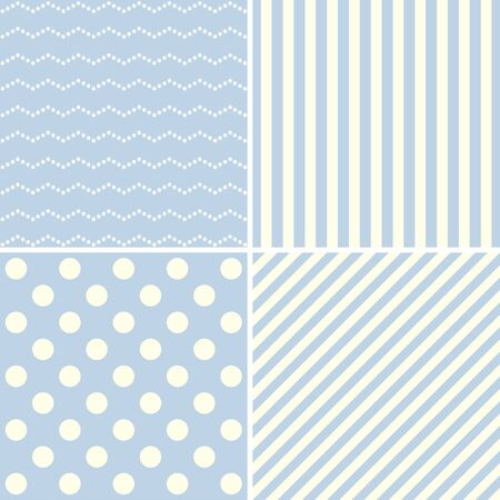 vector images: Set of cute patterns. Blue vector images.