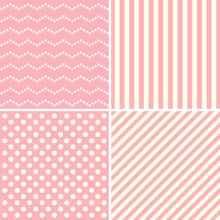 sweet background: Set of cute patterns in white and pink colors. Vector illustration.