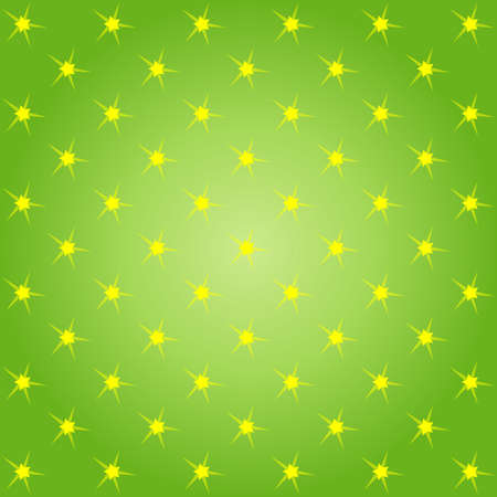 starts: Star pattern, in vector, yellow starts on green color background Illustration