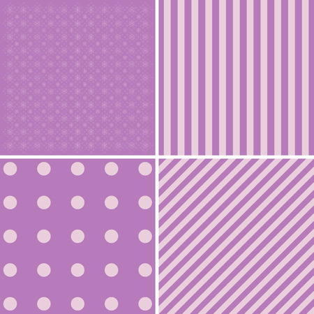 masculine: Vector set of 4 retro background patterns in purple and green. Good for Baby Shower, Birthday, Mothers Day, Fathers Day, Christmas, Scrapbook, Greeting Cards, Gift Wrap, surface textures.