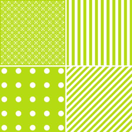 緑の色に 4 つのかわいいベクトルの背景のセットします。 エレガントなカード。