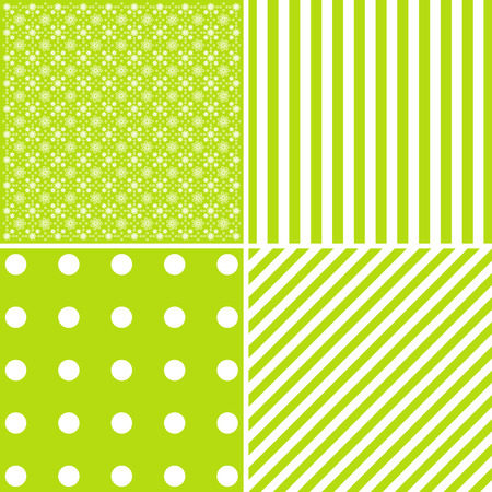 green heart: Set of four cute vector backgrounds in green colors.  Elegance cards.