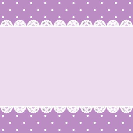 Lilac vintage frame on polka dots retro pattern 版權商用圖片
