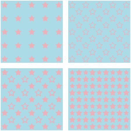baby blue: set of 4 cute colorful stars backgrounds Illustration