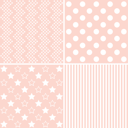 giftwrap: Vector set of 4 background patterns in light pink.