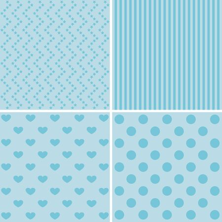 texture backgrounds: Vector set of 4 retro background patterns in blue.