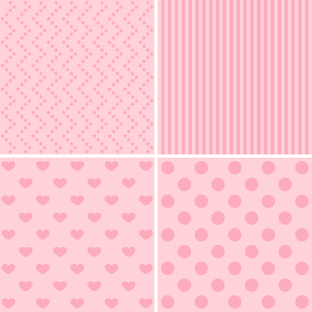 giftwrap: Vector set of 4 background patterns in pink