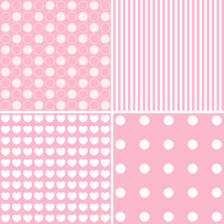new day: Vector set of 4 background patterns in pastelpink