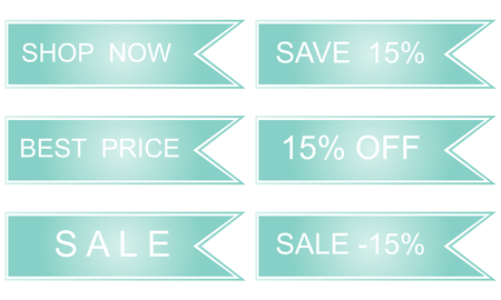 sell out: Discount labels. Vector sales set in blue tones.