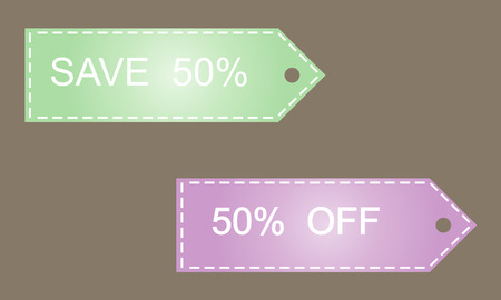 gree: Save 50. Vector image in green and lilac