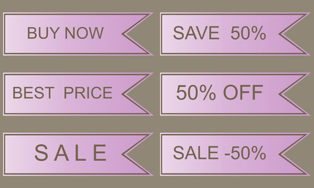 top 50 icon: Lilac sales labels, best price, click here, save 50 Stock Photo
