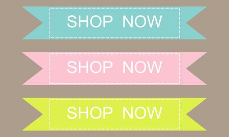Shop now banner design set over a grey background
