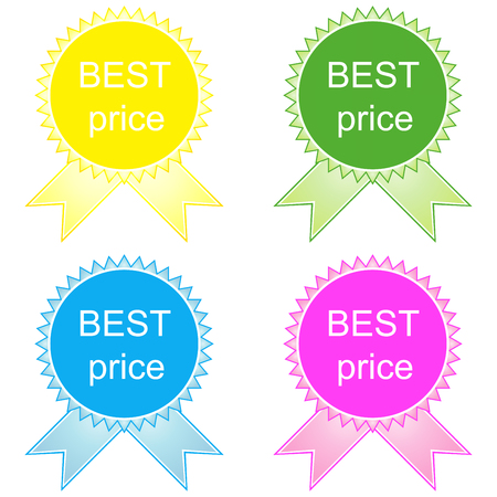 contentment: Best price button in yellow, green, blue and pink. Illustration