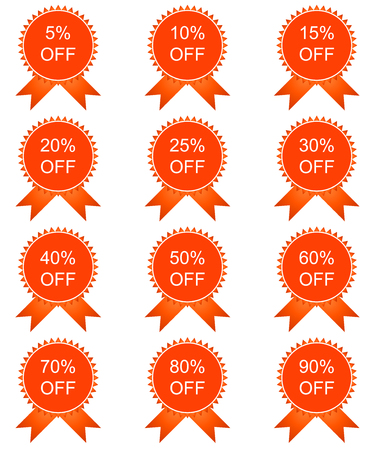 sell out: Discount price tags. Vector image in red tones.