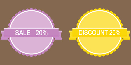 markdown: 10 percent discount lilac and yellow button