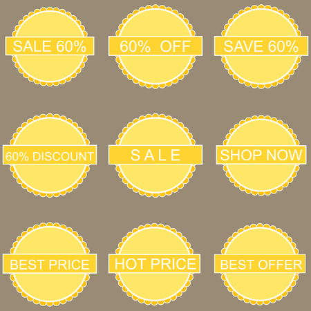 sell out: Discount labels set. Vector image with sale tags.