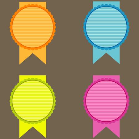 wax glossy: blank seals set in orange, blue, green, pink tones