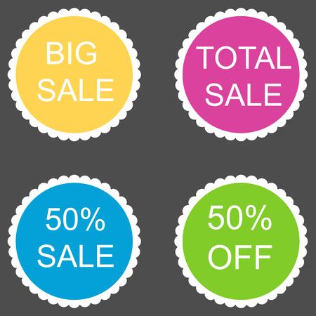 50: sale stickers set 50 percent. Vector image.