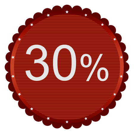 markdown: 30 percent discount red button isolated background