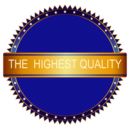 highest: Highest Quality gold and blue emblem or badge Illustration