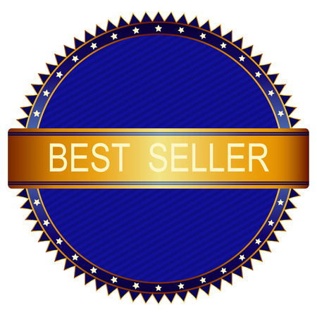 webshop: Gold best price badge with blue on white background