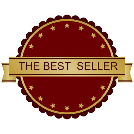 seller: Best Seller Label in red and gold tones