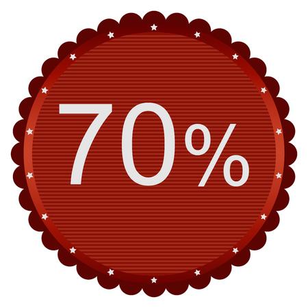 70: Big sale 70 percent badge in red. Vector illustration.