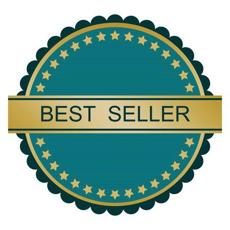 seller: Blue gold best seller badge. Vector image. Illustration