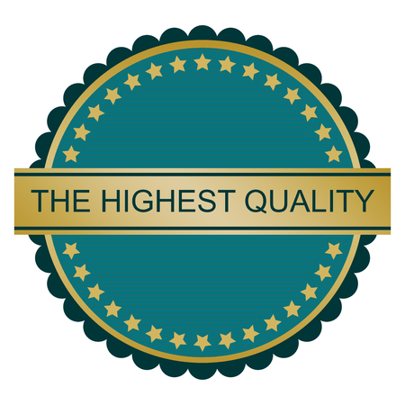 assured: Highest quality sign on white background, vector illustration