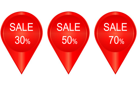 Sale banner with 30, 50, 70 percent discount. Vector.