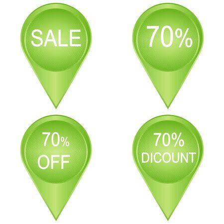70: sale sticker 70 percent isolated on white Illustration