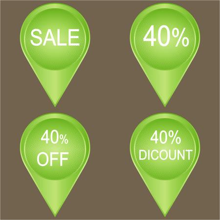 40: Sale 40% set over a grey background, vector illustration