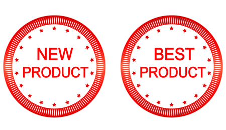best product: New and best product buttons set in red