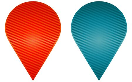 adhesion: 2 different sticker, vector set. Red and blue colors.