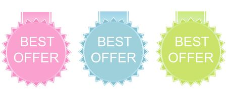 best quality: Vector best offer labels set on white background
