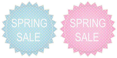 stock certificate: Spring sale label set in blue and pink tones Illustration
