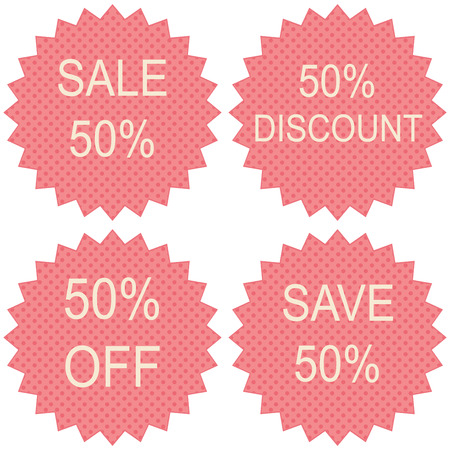 pricetag: Discount price tags. 50 percent sale. Vector. Illustration