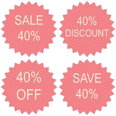 tear off: Discount price tags. 40 percent sale. Vector. Illustration