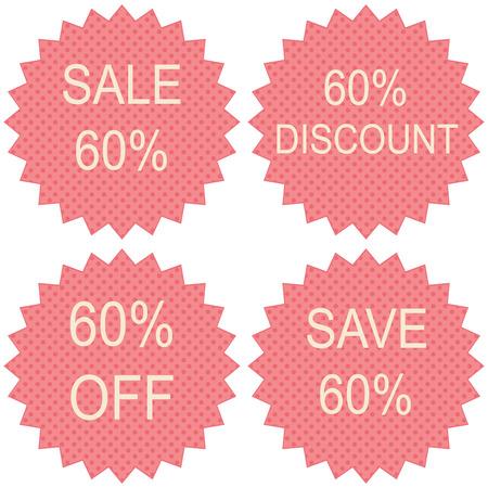60: Sale 60% on white background, vector illustration Illustration