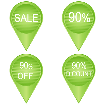 90: Vector: Big Sale tags with Sale 90 percent text