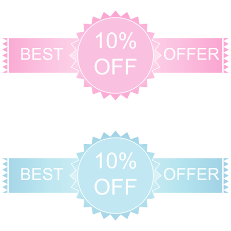 10 best: Label or sticker discount 10 percent off with text best offer Illustration