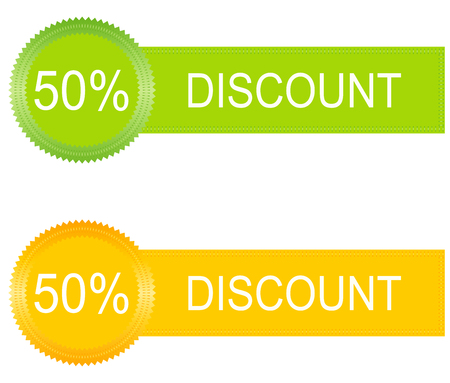 discount buttons: 50 percent discount buttons set in orange and green